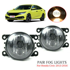 Fog Lights For Honda Civic 2013 2016 2017 Pair Bumper Replacement Clear Lens Usa