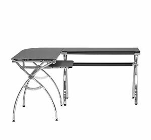 L Shaped Colored Tempered Glass Top Desk With Pull Out Keyboard Tray Black