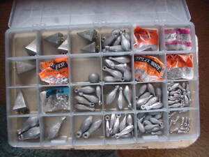 Lot of Assorted Lead Fishing Weights Sinkers Mixed Types as found asis as shown $110.00