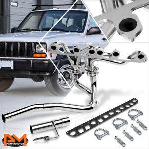 For 91 99 Jeep Cherokee 4 0 Stainless Steel 6 2 1 Exhaust Header Manifold y pipe