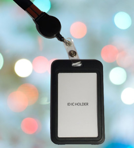 Id Card Badge Holder With Neck Strap Lanyard Hard Plastic Necklace Case Reel