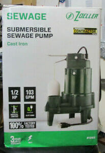 Zoeller Submersible Sewage Pump 1 2 Hp 103 Gpm 1263 Brand New