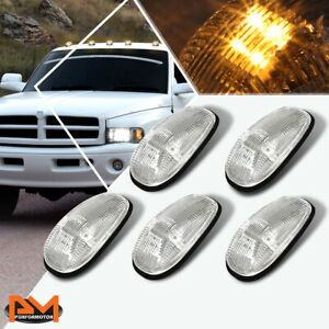 5pcs Cab Roof Running Light Chrome Housing Yellow Led For 99 01 Dodge Ram Truck