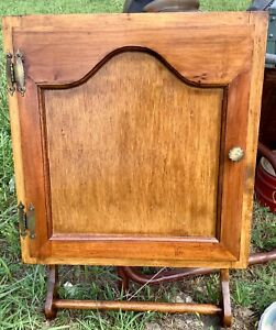 Primitive Vtg Rustic Farm Medicine Spice Wood Wall Cabinet Shelf Towel Bar