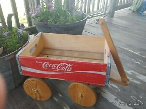 Coca Cola Wooden Crate Box Wagon Coke Soda Pop Wood Red Vintage