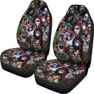Set Of 2 Beautiful Sugar Skull Girl Gothic Car Seat Cover Skull Seat Cover