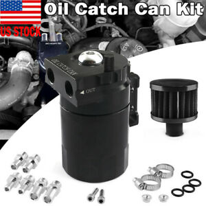 Oil Catch Can Kit Reservoir Tank Engine With Breather Baffled Universal Aluminum