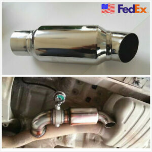 2 5 In 2 5 Out Car Exhaust Pipe Tip Resonator Silencer Muffler Stainless Usa