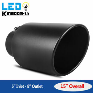 5 Inlet 8 Outlet 15 Long Diesel Exhaust Tip Stainless Steel Rolled Edge End