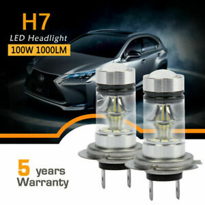 2pcs H7 Led Headlight Conversion Kit Bulb 100w 20000lm White High Power 6000k