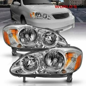 Lh rh Replacement Chrome Headlights Left right Fit For 2003 2008 Toyota Corolla
