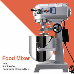 Commercial 3 Speed Dough Food Mixer 600w 4 5p 15qt Stainless Steel Blender