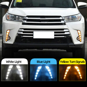 2pcs Car Led Daytime Running Light Drl Fog Lamp For Toyota Highlander 2018 2019