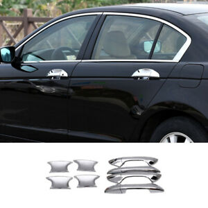 Fit For 2008 2013 Honda 8th Accord Chrome Abs Side Door Handle Bowl Cover Trim