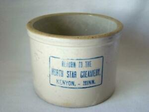 Antique Red Wing Stoneware Butter Crock North Star Creamery Kenyon Minn
