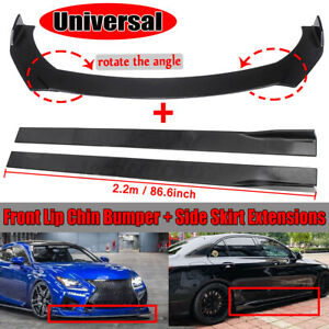 Universal Car Front Bumper Lip Spoiler Chin Splitter 78 7 Side Skirt Extension