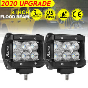 2x 4inch 18w Led Work Light Bar Flood Pods Offroad Fog Lamp 4wd Pickup Truck