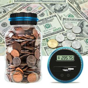 Lcd Counting Money Clear Digital Piggy Bank Coin Savings Counter Jar Change Gift