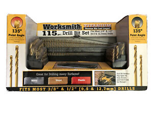 Worksmith Titanium 115 Pc Drill Bit Set With Heavy Duty Container New