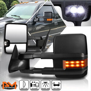 For 88 02 Chevy gmc C k Truck Manual Black Towing Mirror W led Signal Lamp Pair