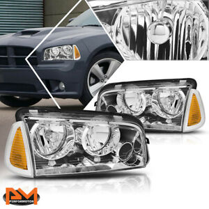For 06 10 Dodge Charger Headlight lamps Chrome Housing Clear Lens Amber Corner