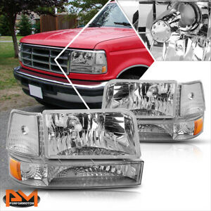 For 92 96 Ford F150 F250 F350 Chrome Housing Headlight Amber Corner Signal Lamps