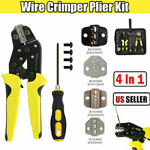Steel Wire Stripper Crimper Tools Crimping Ratchet Cord Terminals Pliers Kit Us