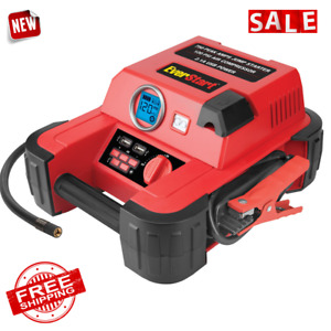 Jump Starter Air Compressor Tire Pressure Inflator Car Battery Emergency Charger