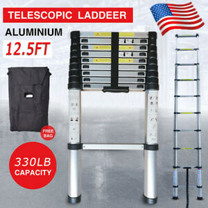 12 5ft Extension Ladder Telescoping Portable Step Aluminum Safety Lock Protector