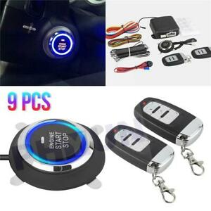 Car Alarm Start Security System Key Passive Keyless Entry Push Button 2x Remote