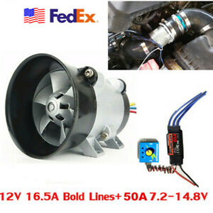 Car Electric Turbine Power Turbo Charger Boost Air Intake Fan W 50a Esc Control