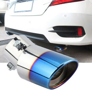 Universal Car Exhaust Pipe Tail Stainless Steel Rear Round Muffler Tips Chrome