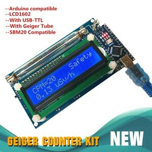 Assembled Geiger Counter Nuclear Radiation Detector System lcd Arduino Nano