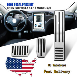 3x Foot Pedals Non Slip Gas Brake Pedal Pads Cover For Tesla Model X S 2014 17
