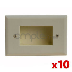 Mount Low Voltage Pass Through Cable Wall Plate Lite Almond Fit Lot Of 10 New