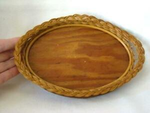 Antique Victorian Small Primitive Woven Oval Wicker Dresser Tray Basket