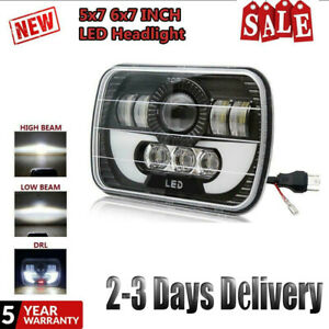 7x6 Led Headlight Projector H4 Hilo Sealed Beam Drl Dot Fit Forjeep Wrangler Yj