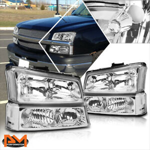 For 03 06 Chevy Silverado avalanche Bumper Headlight lamps Clear Corner Chrome