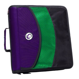 Case It Dual Ring Zipper Binder With Exterior Pocket Purple 3 Inch Dual 121 a