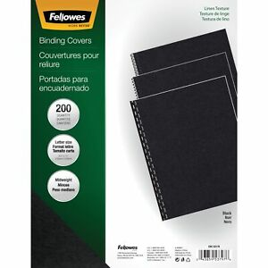 Fellowes Expressions Linen Presentation Covers Letter Black 200 Pack Black