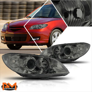 For 04 09 Mazda 3 4 Dr Projector Smoked Housing Headlight Clear Side Corner Lamp