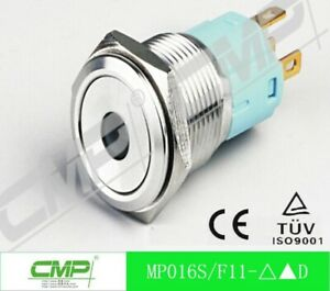 Cmp Ss Round Momentary Push Button Switch 16 Mm 12 V Blue Led pkg Of 40