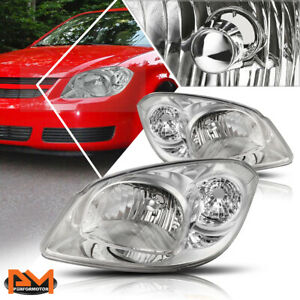 For 05 10 Chevy Cobalt Chrome Housing Clear Side Headlight Lamp Replacement Pair