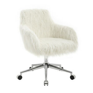 Faux Fur Upholstered Metal Frame Office Swivel Chair With Casters White