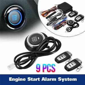 Car Alarm Start Key Passive Keyless Entry Push Button Remote Security System Kit