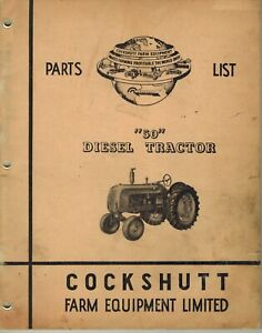 Cockshutt Vintage 50 Diesel Tractor Parts Manual No C 492rp 9 54 h