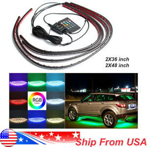 4x Led Strip Under Car Neon Light Remote Tube Underglow Underbody System 7colors