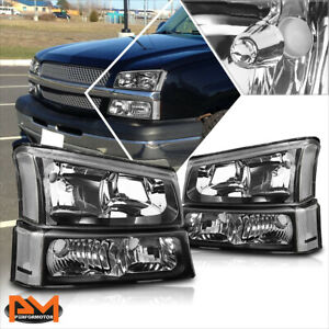 For 03 06 Chevy Silverado Avalanche Bumper Headlight Lamps Clear Corner Black