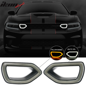 Fits 15 19 Dodge Charger Srt Scat Pack Grille Smoke Led Lights