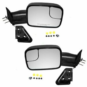 Pair Manual Towing Side View Mirrors For 1994 01 Dodge Ram 1500 94 02 2500 3500